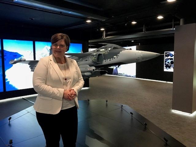 Helena Dahlberg, ansvarig för Saabs interna och externa digitala kanaler.