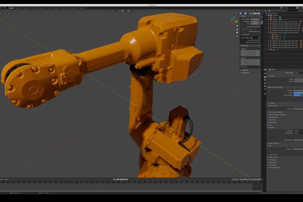 I tidningen finns även en robot som 3D-printar och den skulle självklart också vara med på ett hörn. En lämplig robot letades upp, konverterades till Blender från CAD-format och fick ett 3D-printhuvud.