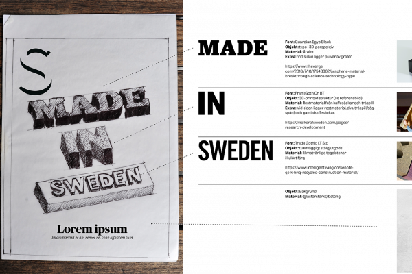 Markus gjorde en detaljerad brief, med en skiss som visade hur omslagsrubrikerna skulle kunna se ut om de producerats i olika material och den överlämnades till Robert Hagström på vår prepressavdelning. Robert är även en stjärna när det kommer till 3D-grafik och han lade i enlighet med skissen in textkonturer och de olika materialvalen i en 3D-programvara som heter Blender. (https://www.blender.org/)